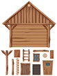 Wooden cottage and set of windows and doors