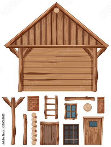 Fototapeta Wooden cottage and set of windows and doors obraz na płótnie