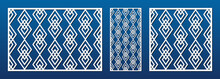 Laser Cut Panel. Abstract Geometric Pattern With Lines, Diamonds, Rhombuses. Elegant Decorative Template For Wood, Paper Card, Metal Cutting, Engraving, Fretwork, Carving. Aspect Ratio 3:2, 1:2, 1:1
