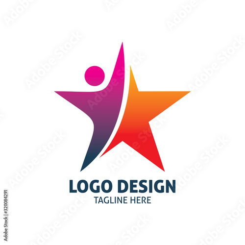 Obraz red purple people star logo design - fototapety do salonu