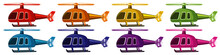 Set Of Helicopters In Eight Co...