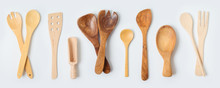 Wooden Kitchen Utensils Collection On White Background. Cooking Or Baking Mock Up For Design.