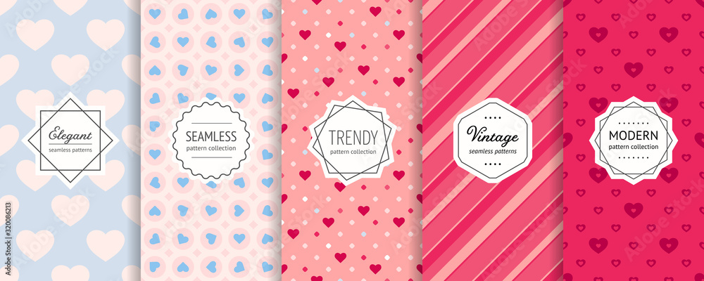 Fototapeta Vector Valentines day seamless patterns collection. Set of colorful geometric background swatches with elegant minimal labels. Cute abstract textures with hearts, stripes, dots. Romantic wedding decor