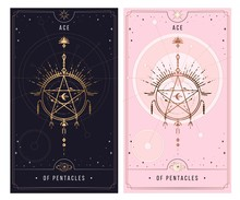 Of Cups. Minor Arcana Secret Card, Black With Gold And Silver Card, Pink With Gold, Illustration With Mystical Symbols.