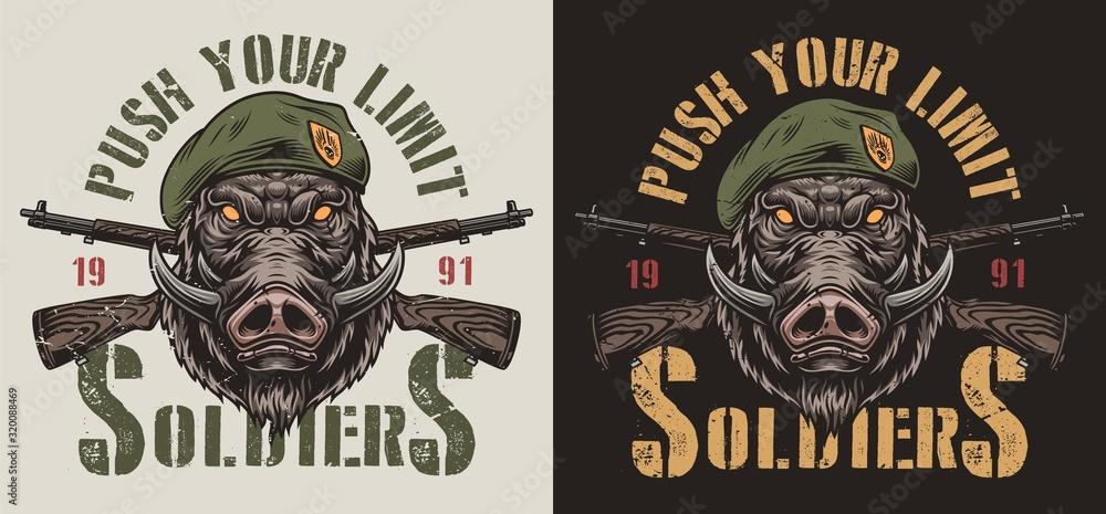 Vintage animal soldier colorful label