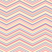 Zig Zag Seamless Pattern. Vector Texture With Thin Horizontal Zigzag Lines, Stripes, Chevron. Abstract Colorful Geometric Background. Simple Minimalist Ornament. Repeat Design For Decor, Textile