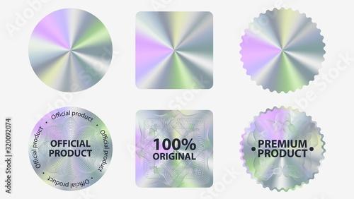 Valokuva Set of hologram label geometric shapes vector flat illustration