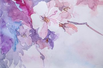 Fototapeta Optyczne powiększenie Closeup view of beautiful floral watercolor painting