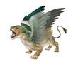 lionne,  verte, femelle, volant, fantastique, menacent, dents, bouche ouvert, sauvage, ailes, animal, fauve, félin,