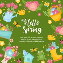 Hello Spring Greeting Card. Cute Illustration With Spring Bouquet In A Boots, Little Frog, Dragonfly And Nesting Box.