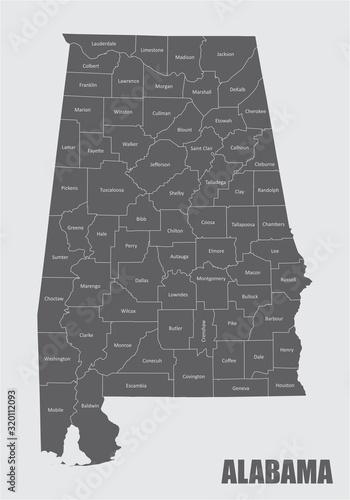 Map of Alabama Wallpaper Mural