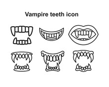 Tooth Fangs, Vampire Teeth Icon Vector Illustration For Graphic And Web Design.