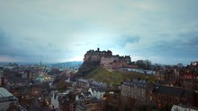 Drone Shot Of Edinburgh Castle...