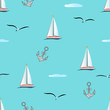 Marine seamless pattern sailboats, seagulls, anchors, clouds on a background of blue sea. Suitable for fabric, paper, wallpaper, clothing for leisure, vacation, travel