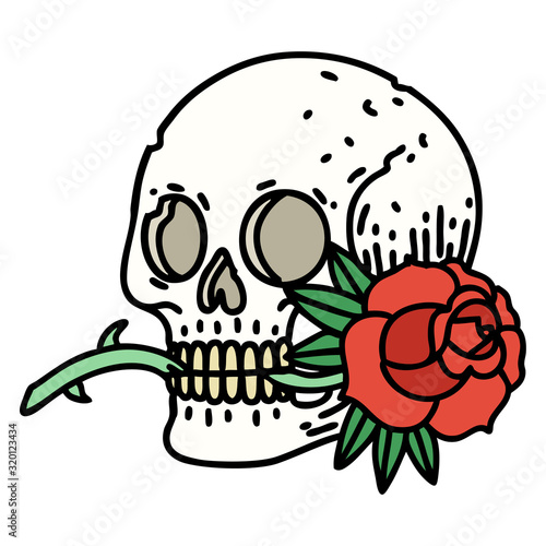 traditional tattoo of a skull and rose Wall mural