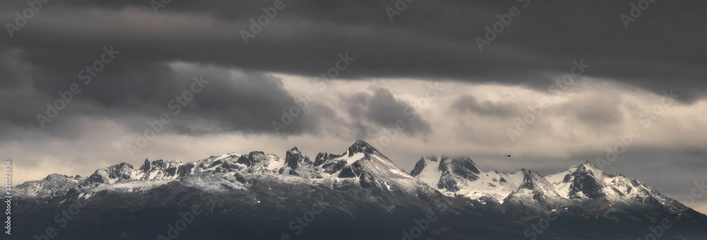 Fototapeta monochrome panorama of mountains in Patagonia in Argentina