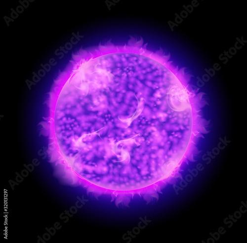 Fototapeta Star with purple bright light shining in space obraz