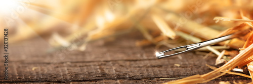 Fotografie, Tablou Closeup Of A Needle In A Haystack on Wooden Floor With Sunlight - Search Until Y