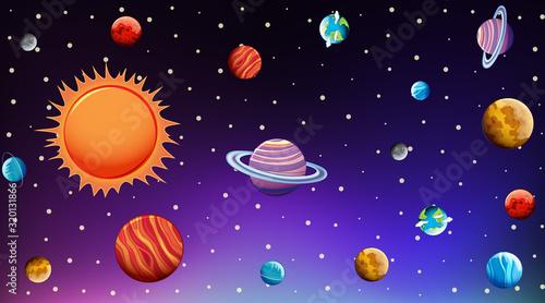 Fototapeta Background template with bright stars in dark sky obraz