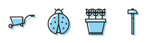 Set Line Plants In Pot, Wheelbarrow, Ladybug And Hammer Icon. Vector