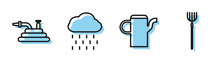 Set Line Watering Can, Garden Hose Or Fire Hose, Cloud With Rain And Garden Pitchfork Icon. Vector