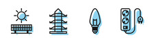 Set Line Light Bulb, Solar Energy Panel And Sun, High Voltage Power Pole Line And Electric Extension Cord Icon. Vector
