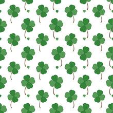 Green Four Leaf Clover Seamles...