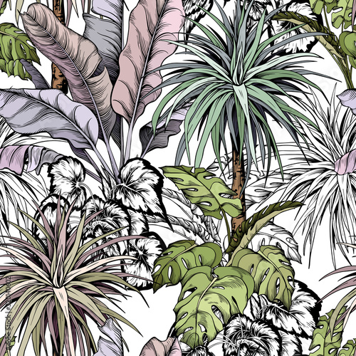 seamless-tropical-pattern-with-hand-drawn-leaves-and-palm-trees