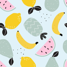 Seamless Pattern With Fruit Le...