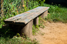 Old Wooden Bench With Peeling Blue Paint