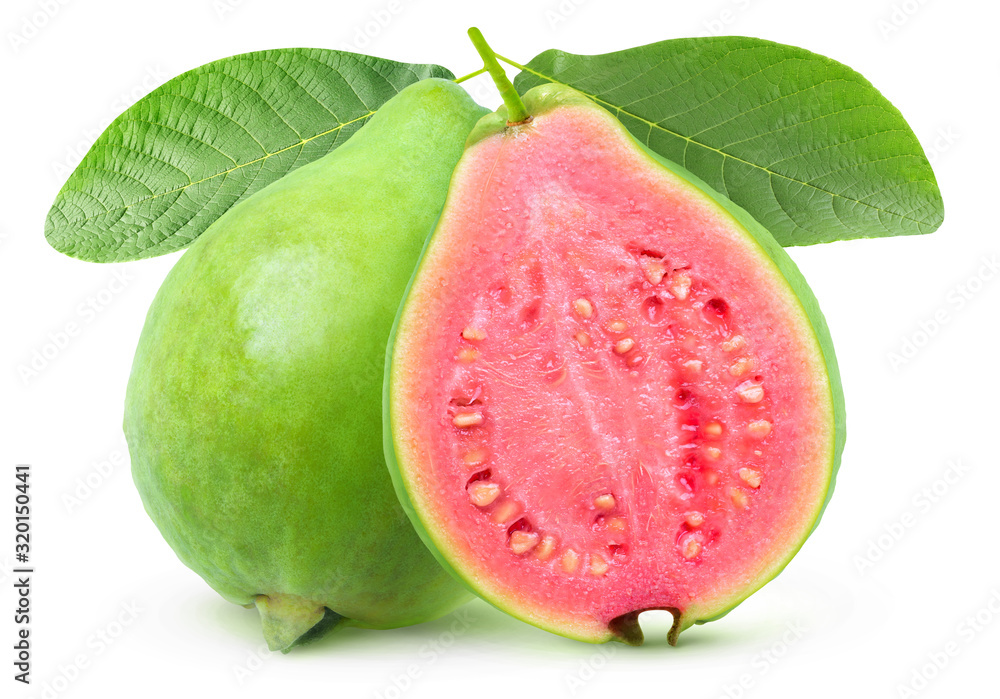 Fototapeta Isolated guava. One whole green guava fruit and a half with pink flesh on a branch with leaves isolated on white background with clipping path