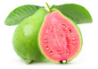 Leinwandbild Motiv Isolated guava. One whole green guava fruit and a half with pink flesh on a branch with leaves isolated on white background with clipping path