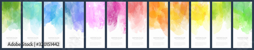 Obraz Big bundle set of light colorful vector watercolor vertical backgrounds for poster, banner or flyer - fototapety do salonu