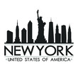 New York Skyline Silhouette. Design City Vector Art. Landmark Banner Illustration.