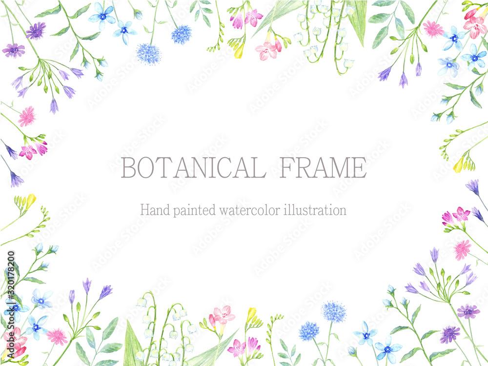 植物のフレーム 水彩イラスト <span>plik: #320178200 | autor: miko</span>