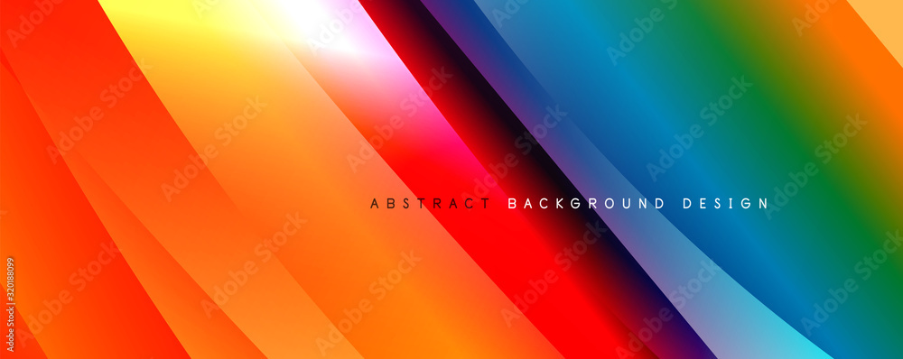 Fototapeta Wave liquid style lines with shadows and light on gradient background