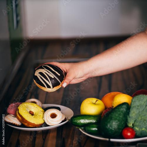 Cuadros en Lienzo cheat meal, healthy eating, balanced nutrition, snacking, diet breakdown, weight losing