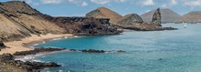 Panoramic Shot Of Rocks By The Ocean At Galapagos Islands, Ecuador