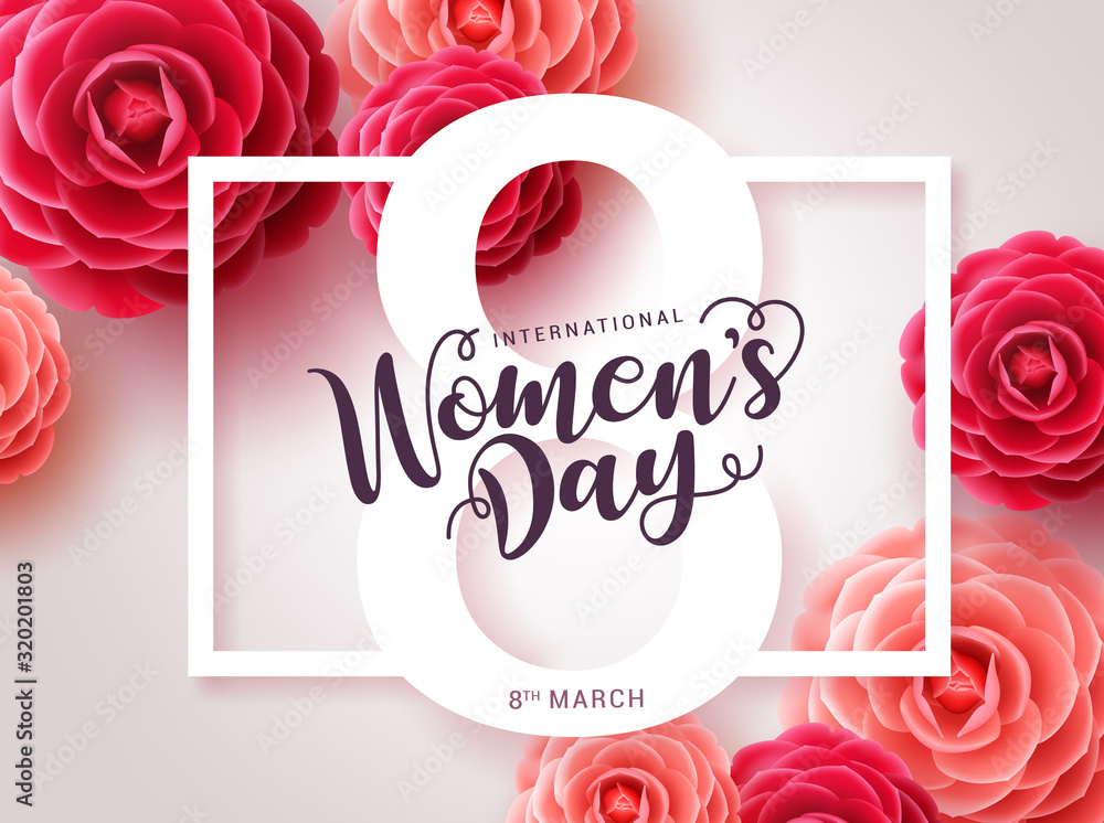Fototapeta Women's day vector design. Womens day greeting text with red camellia flowers background for woman international celebration. Vector illustration
