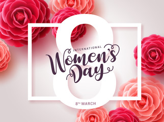 Women's day vector design. Womens day greeting text with red camellia flowers background for woman international celebration. Vector illustration