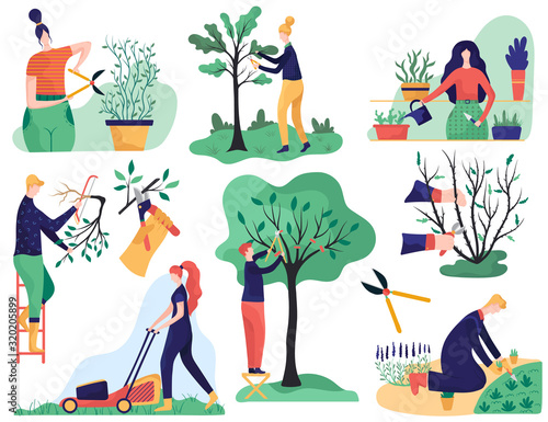 People gardening and cutting tree branches, cartoon characters vector illustration. Set of stickers in flat style, men and women cultivating plants in garden, orchard trees gardener and home greenery