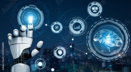 3D Rendering futuristic robot technology development, artificial intelligence AI, and machine learning concept Canvas Print