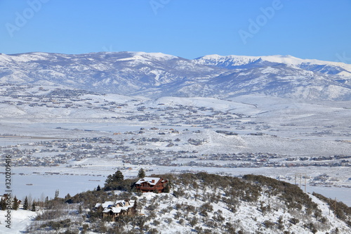 Mountain valleys of Utah from atop a hill on the Wasatch Mountains, Park City Wallpaper Mural