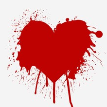 Heart Shaped Red Splash Vector...