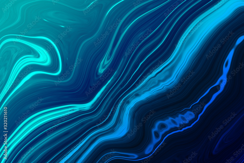 Fototapeta Marble ink colorful. Blue marble pattern texture abstract background. can be used for background or wallpaper