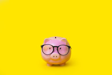 A Pink Piggy Bank In Glasses. ...