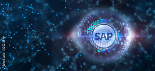 SAP System Software Automation concept on virtual screen data center. Business, modern technology, internet and networking concept. - 320215890