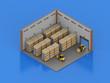 Leinwanddruck Bild - Warehouse interior isometric