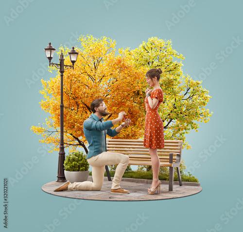 Fototapeta Romantic relationship and family concept obraz
