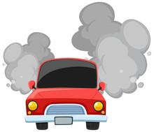 Red Car Making Dirty Smoke On ...